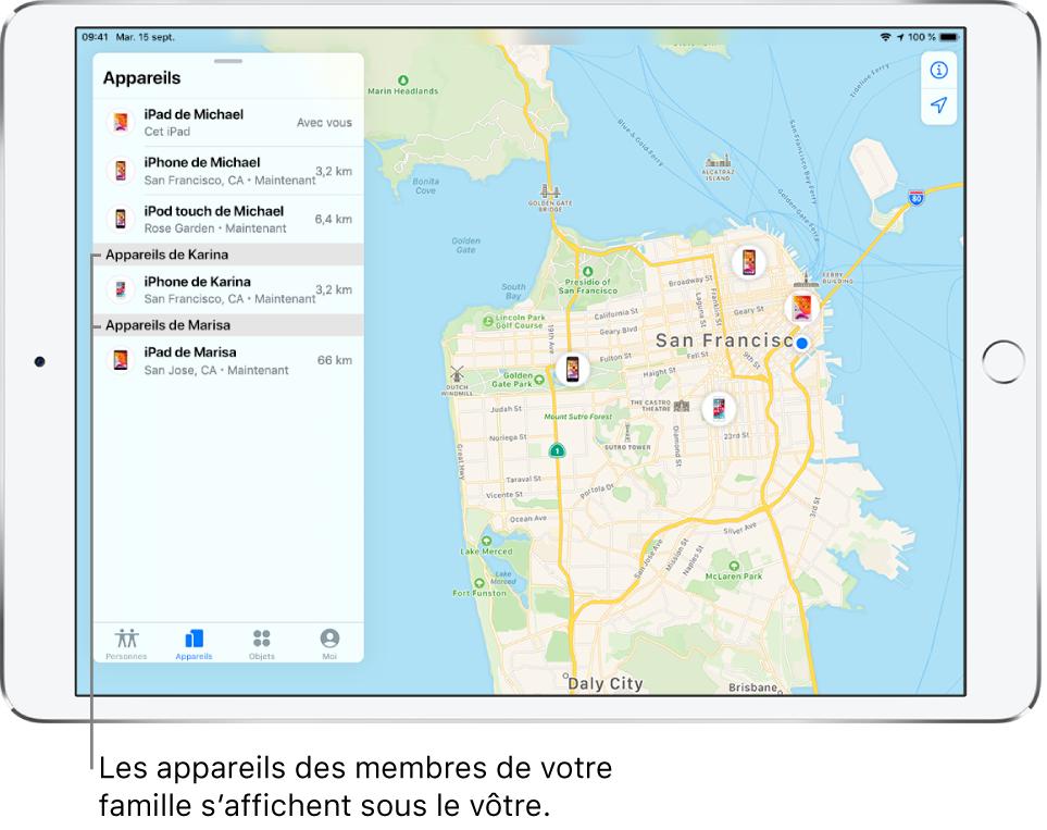 App Localiser ouverte sur l'onglet Appareils. Les appareils de Michael se trouvent en haut de la liste. L'iPhone de Karina et l'iPad de Marisa figurent en dessous. Leur position est affichée sur un plan de San Francisco.