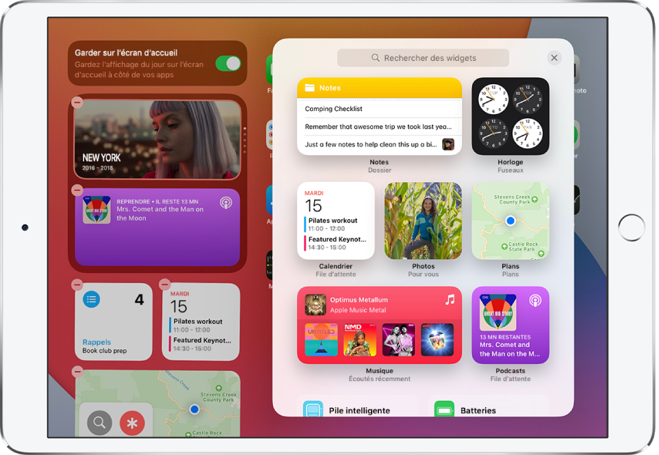 La galerie de widgets sur l'iPad affichant des widgets, comme par exemple Notes, Horloge, Calendrier, Photos, Plans, Musique et Podcasts.