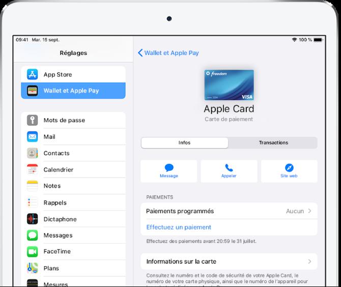 Écran de détails de l'AppleCard.