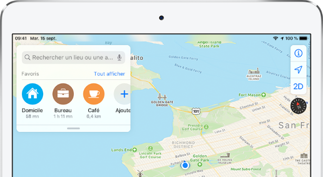Plan de la région de la baie de San Francisco, avec troisfavoris affichés sous le champ de recherche. Les favoris sont Domicile, Travail et Café.