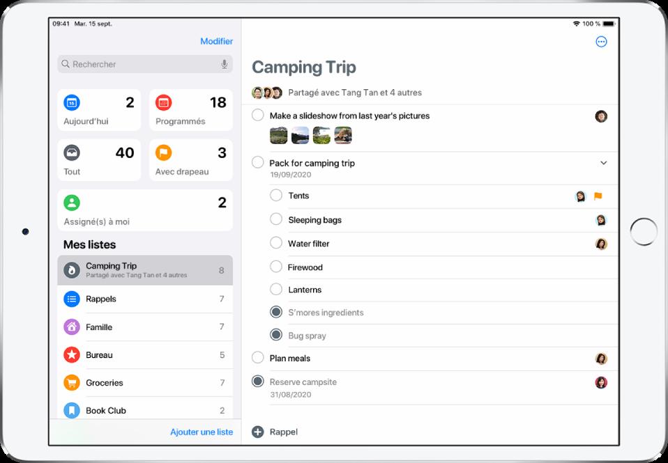 Un écran avec plusieurs listes dans Rappels. Des listes intelligentes se trouvent en haut à gauche de l'écran pour les rappels prévus aujourd'hui, les rappels programmés, tous les rappels et les rappels signalés. Les listes personnalisées se trouvent en bas à gauche. Le bouton «Ajouter une liste» se trouve en bas, au centre.