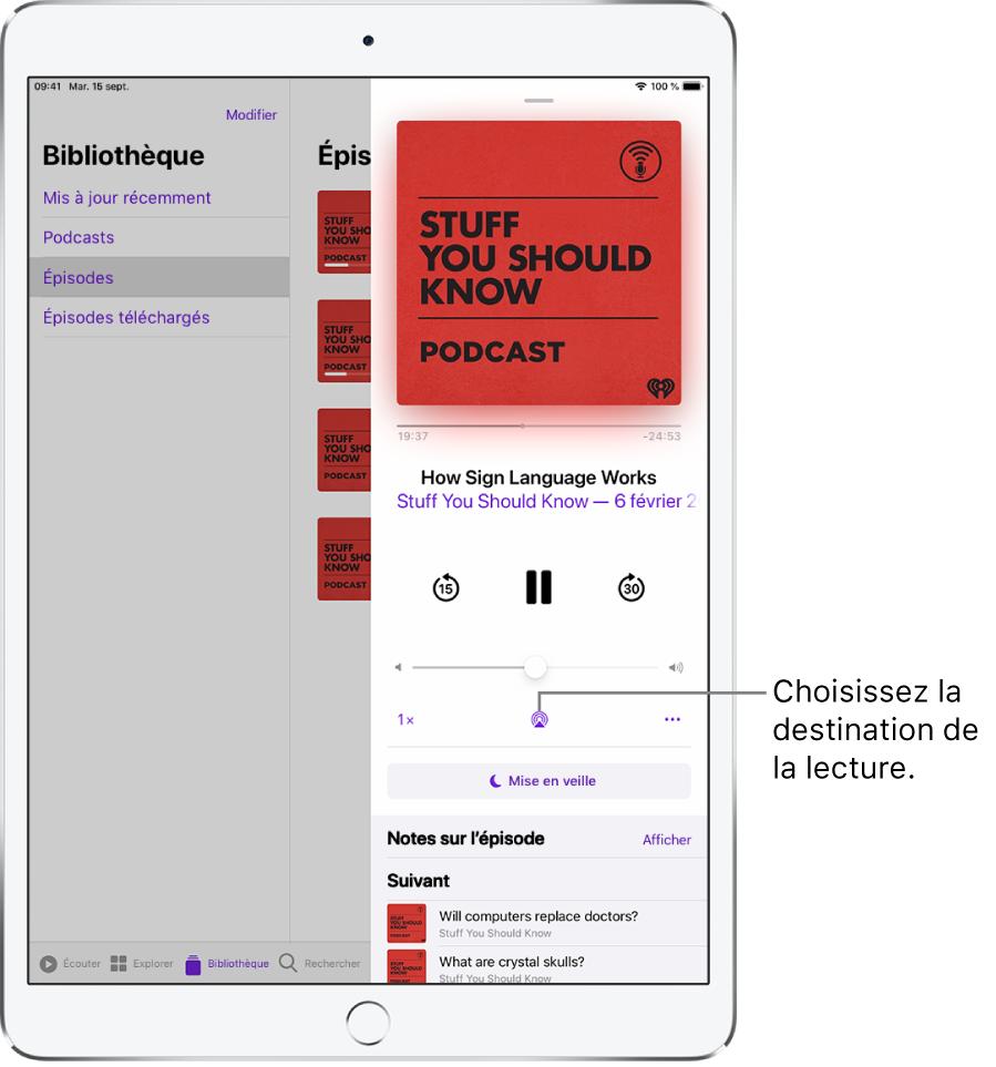 Les commandes «À l'écoute» de Musique. Le bouton «Destination pour la lecture» figure en bas de l'écran.