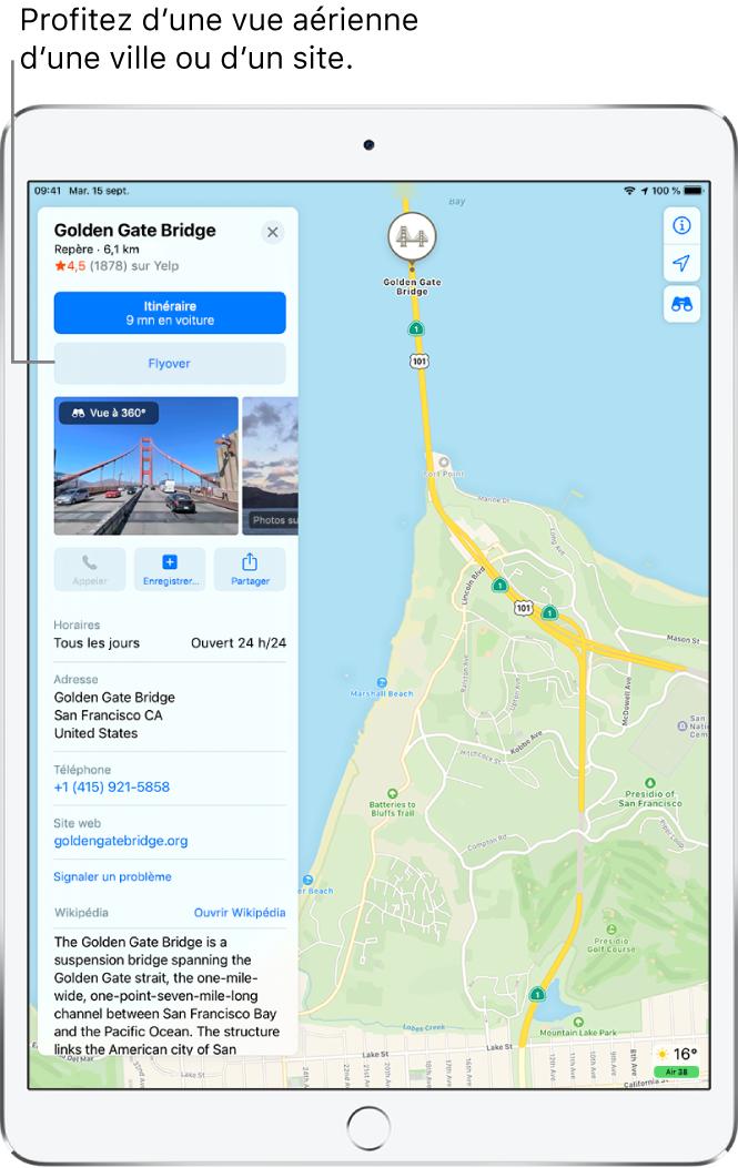 Plan de SanFrancisco. À gauche de l'écran, une fiche d'informations pour le Golden Gate Bridge montre un bouton Flyover en dessous du bouton Itinéraire.