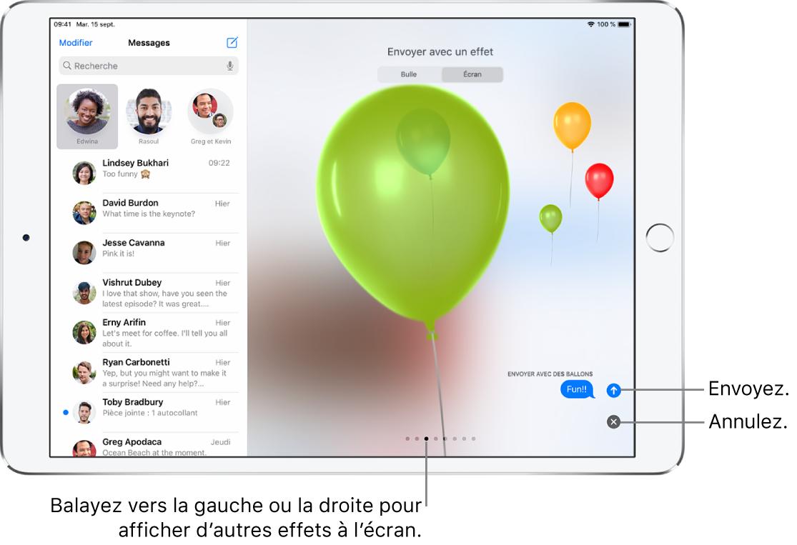Aperçu de message affichant un effet de plein écran avec des ballons.