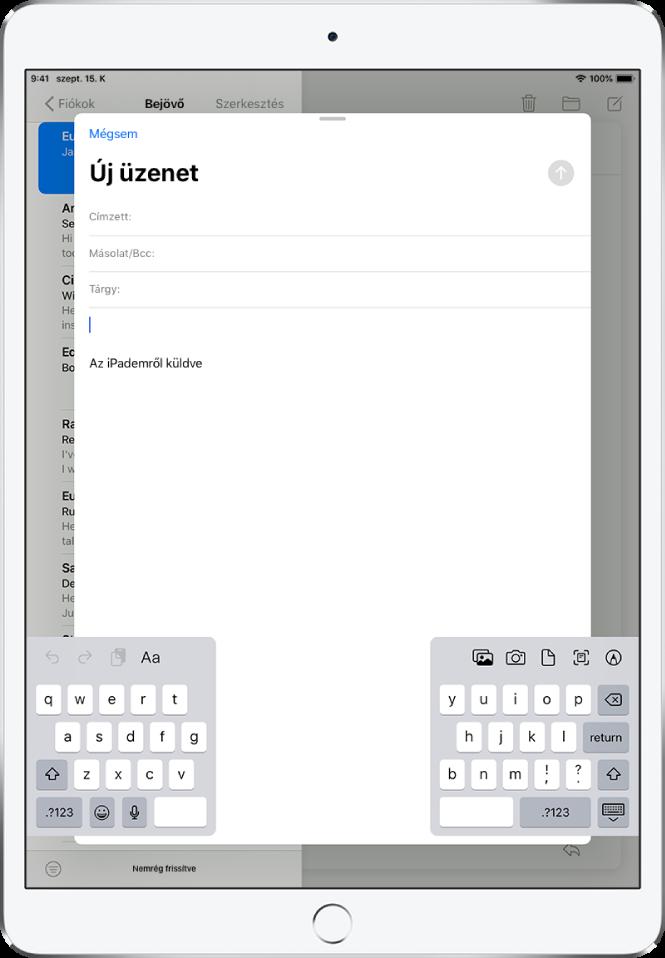 Új e-mail-üzenet írása, amelyhez a billentyűzet fel van osztva az iPad képernyőjének alján, és a billentyűzet dokkolása fel van oldva.