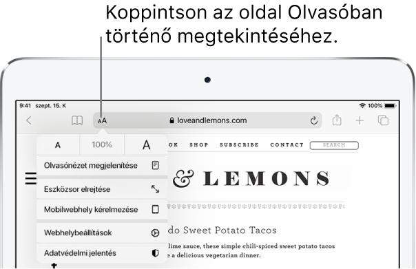 A Safari eszközsora, a címmező bal oldalán az Olvasó gombbal.