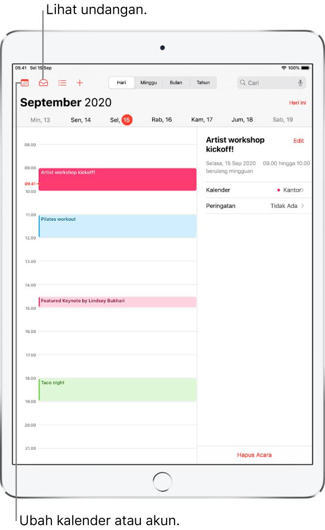 Kalender dalam tampilan hari. Ketuk tombol di bagian atas untuk mengubah tampilan antara Hari, Minggu, Bulan, dan Tahun. Ketuk tombol Kalender untuk mengubah kalender atau akun. Ketuk tombol Inbox yang berada di kiri atas untuk melihat undangan.