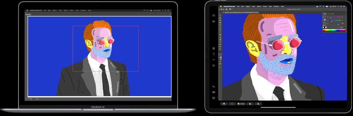 Layar Mac di samping layar iPad. Kedua layar menampilkan jendela dari aplikasi grafik.