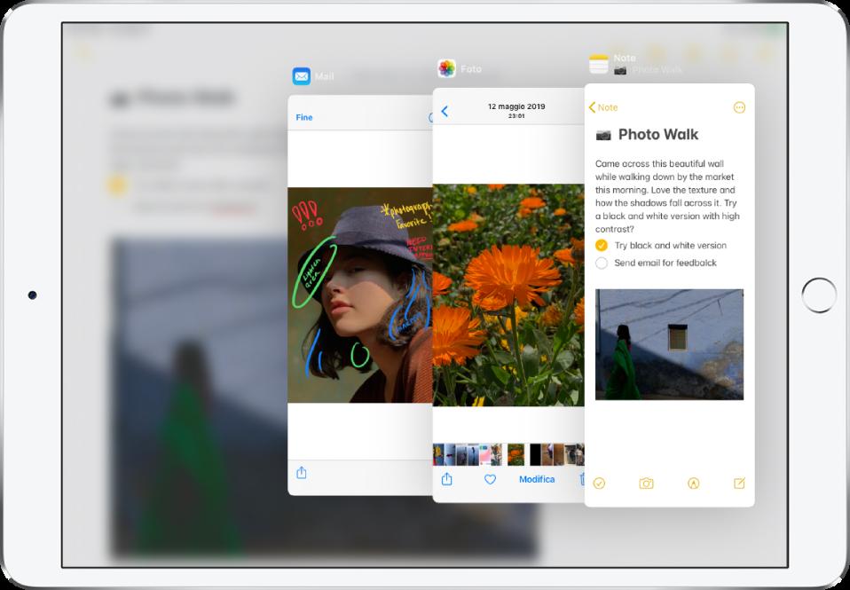 Tre app aperte in finestre Slide Over.