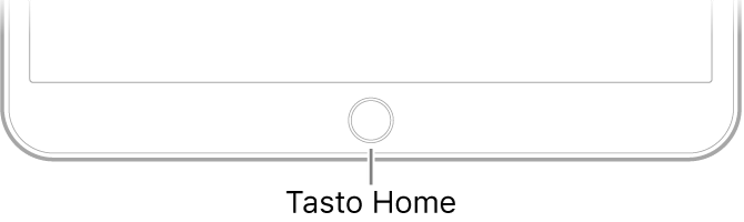 Il tasto Home nella parte inferiore di iPad.