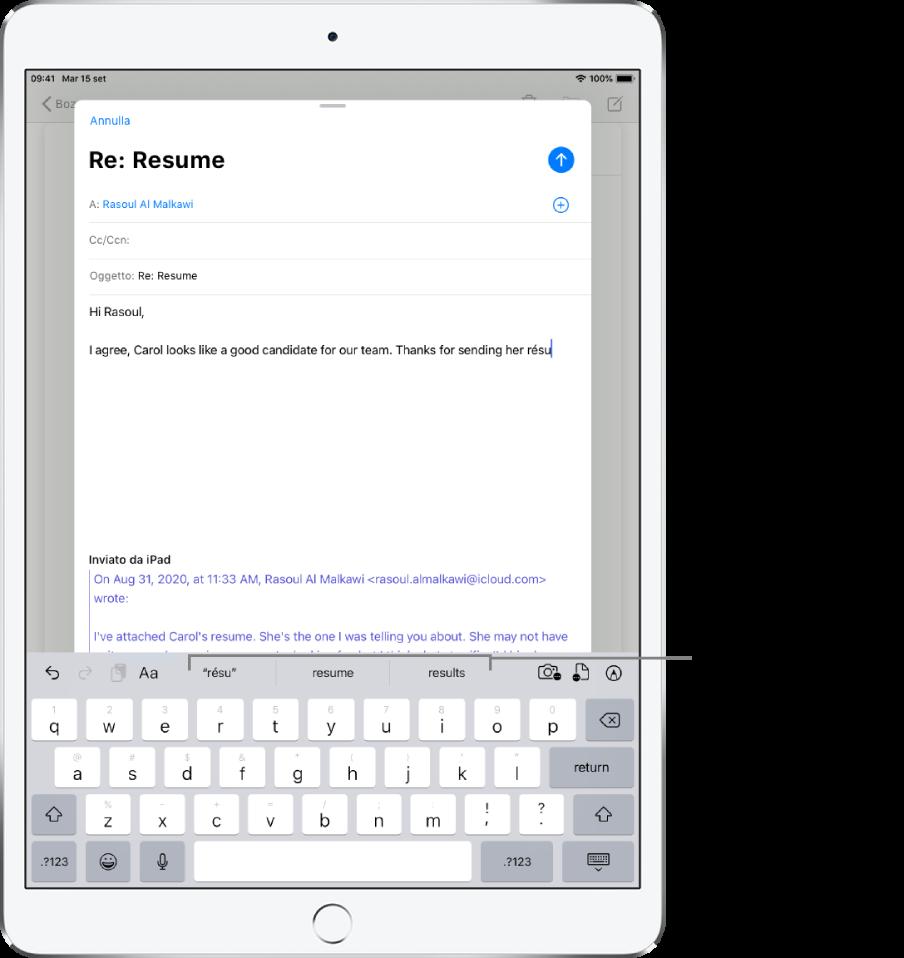 Messaggio di Mail con le prime parole di un nuovo messaggio e con i suggerimenti predittivi per il completamento della parola successiva.
