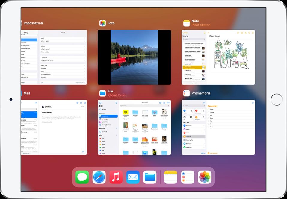 La schermata dello switcher applicazioni che mostra varie app.