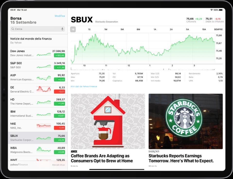 La schermata Borsa in orientamento orizzontale. Il campo di ricerca viene visualizzato nell'angolo in alto a sinistra. Sotto il campo di ricerca c'è la watchlist. Un'azione nella watchlist è selezionata. In mezzo allo schermo viene visualizzato un grafico che mostra le prestazioni dell'azione selezionata nel corso di un anno. Sopra il grafico ci sono tre pulsanti per mostrare le prestazioni dell'azione in un giorno, una settimana, un mese, tre mesi, sei mesi, un anno, due anni, cinque anni o dieci anni. Sotto il grafico ci sono i dettagli dell'azione, come prezzo di apertura, alto, basso e capitalizzazione. Sotto i dettagli del grafico ci sono gli articoli AppleNews relativi all'azione.