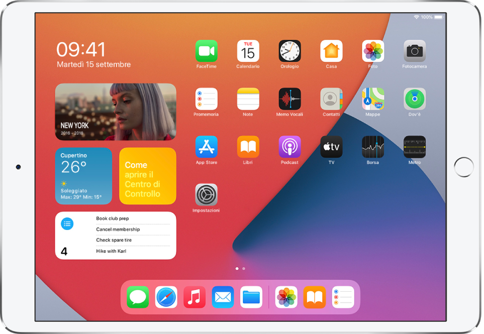 La schermata Home di iPad. Sul lato sinistro della schermata, è visibile la vista Oggi con i widget Foto, Meteo, Suggerimenti e Promemoria.