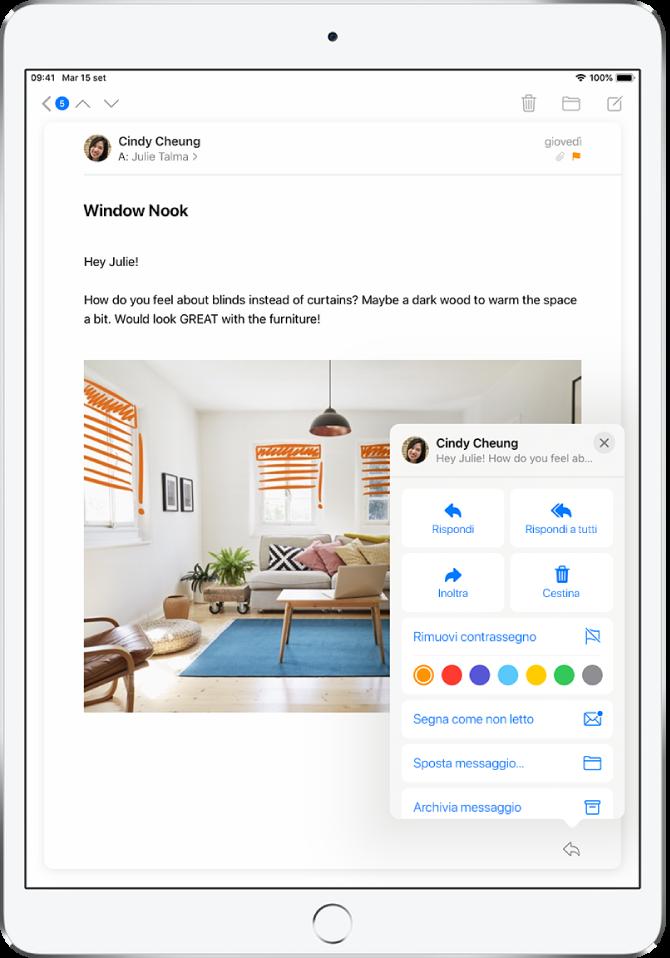 Un'e-mail che mostra le opzioni di risposta in basso a destra. Sotto tali opzioni, sono visibili i colori disponibili per applicare un contrassegno.