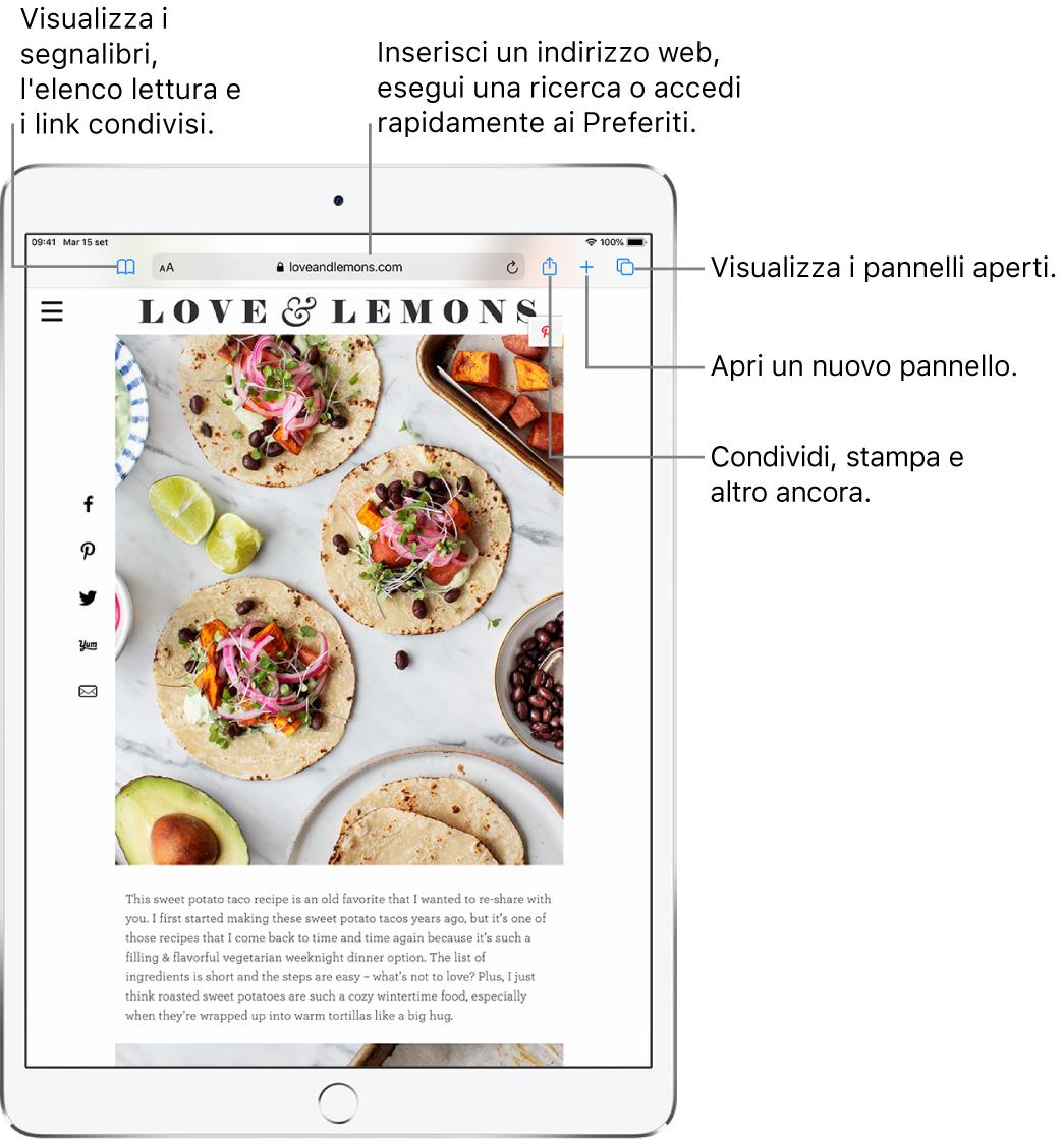 Un sito web aperto in Safari, con i controlli seguenti visualizzati in alto, da sinistra a destra: Indietro, Avanti, il pulsante Segnalibri, il campo indirizzo, i pulsanti Condividi, Nuovo pannello e Pagine.
