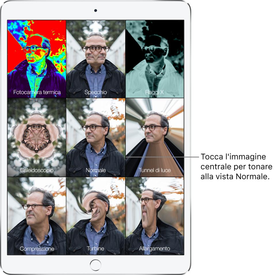 """Una schermata di Photo Booth che mostra nove viste del volto di una persona con diversi effetti in riquadri separati. Nella riga superiore, da sinistra verso destra, ci sono gli effetti """"Fotocamera termica"""", Specchio e """"Raggi X"""". Nella riga centrale, da sinistra verso destra, ci sono gli effetti Caleidoscopio, Normale e """"Tunnel di luce"""". Nella riga inferiore, da sinistra verso destra, ci sono gli effetti Compressione, Turbine e Allargamento."""