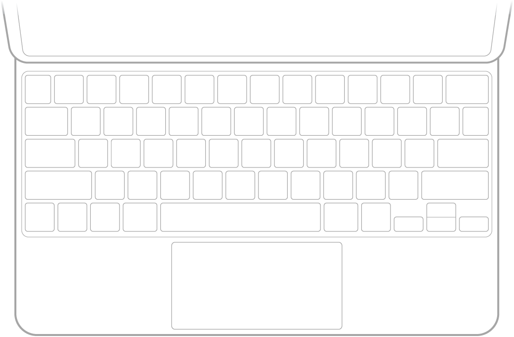 Un'illustrazione della tastiera MagicKeyboard per iPad.