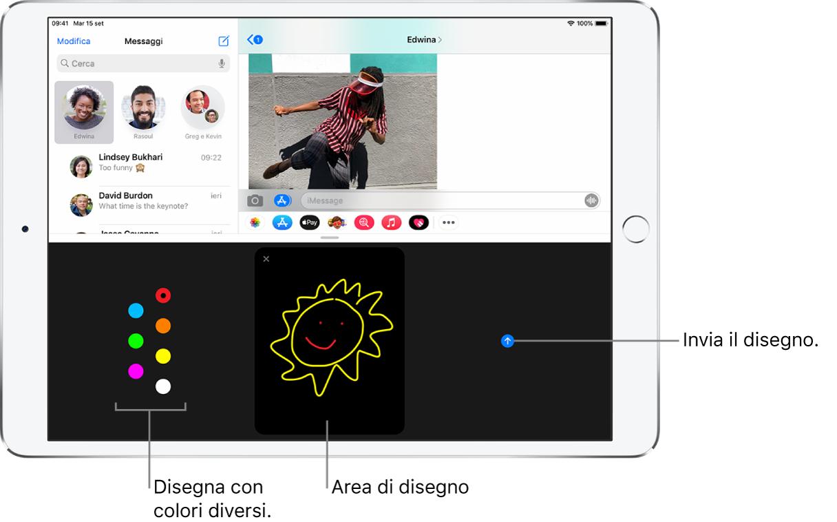 Una schermata di Messaggi con Digital Touch in basso. Le scelte di colori sono a sinistra, l'area di disegno è al centro e il pulsante Invia è a destra.