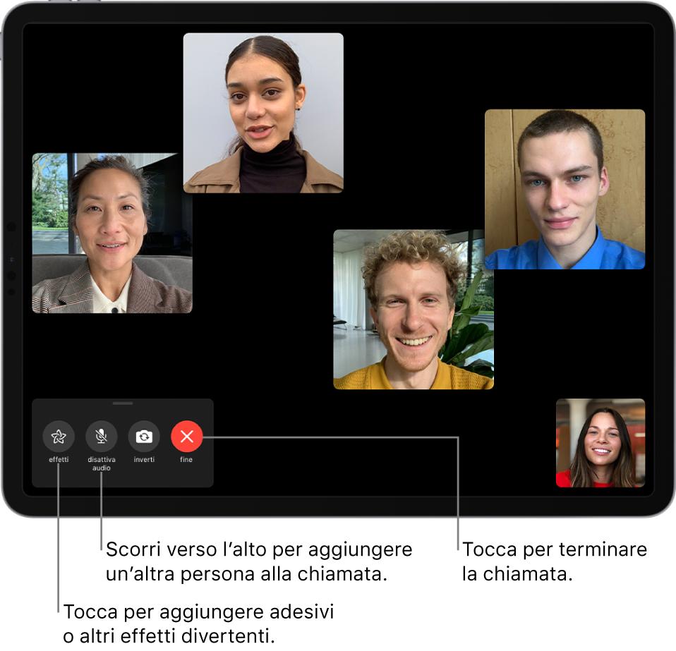 Chiamata FaceTime di gruppo con cinque partecipanti, inclusa la persona che ha avviato la chiamata. Ciascun partecipante viene visualizzato in un riquadro separato sullo schermo. In basso a sinistra sono presenti i controlli per gli effetti, per disattivare l'audio, per cambiare fotocamera e per terminare la chiamata.
