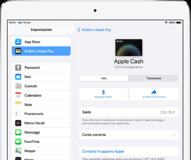La schermata con i dettagli della carta Apple Cash, con il saldo visibile in alto a destra.