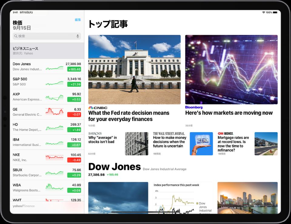 横向きの「株価」画面。左上隅には検索フィールドがあります。検索フィールドの下にはウォッチリストがあります。画面の残りの部分には、ウォッチリスト内の銘柄に関する「トップ記事」が表示されています。