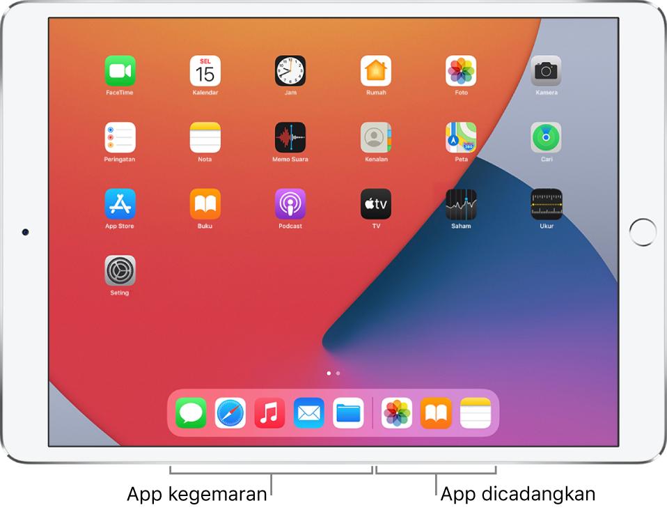 Dock menunjukkan lima app kegemaran di sebelah kiri dan tiga app yang dicadangkan di sebelah kanan.