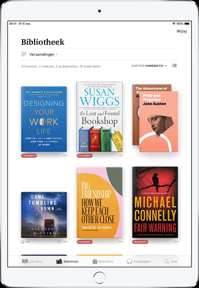 Het scherm 'Bibliotheek' in de Boeken-app. Boven in het scherm staan de knop 'Verzamelingen' en de knop voor sorteeropties. De sorteeroptie 'Recent' is geselecteerd. In het midden van het scherm staan de boekomslagen van boeken in de bibliotheek. Onder in het scherm staan van links naar rechts de tabbladen 'Lees ik nu', 'Bibliotheek', 'BookStore', 'Audioboeken' en 'Zoek'.