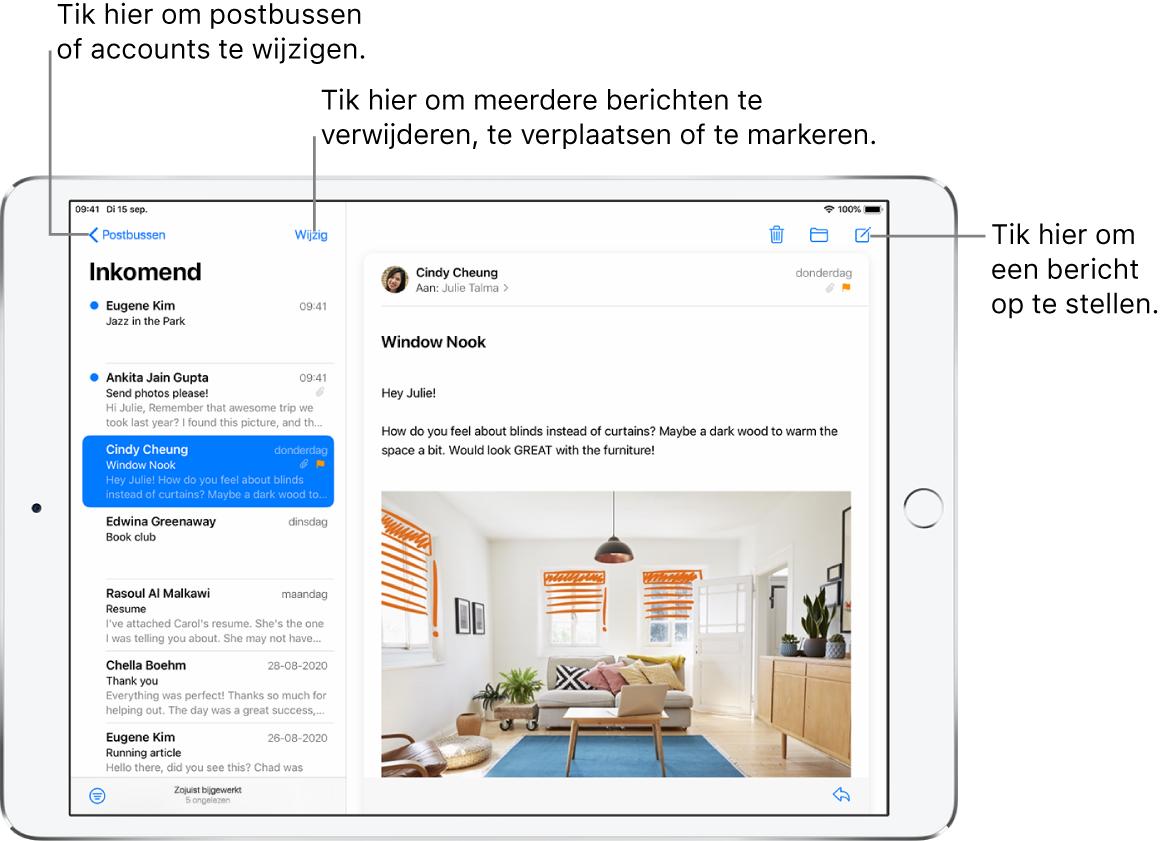 De postbus 'Inkomend' van Mail, met links een lijst met e‑mails en rechts een geopende berichtenreeks. Linksbovenin zie je de postbusknop waarmee je naar een andere postbus kunt gaan. Linksonderin zie je de filterknop, waarmee je kunt instellen dat alleen bepaalde e-mails worden weergegeven. Rechtsbovenin zie je de knop voor het opstellen van een nieuwe e‑mail.