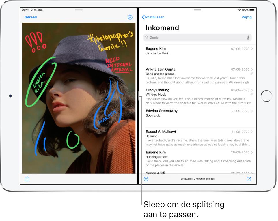Aan de linkerkant van het scherm is een grafische app geopend en aan de rechterkant Mail. Een bijschrift voor de donkere lijn ertussen luidt: 'Sleep om de splitsing aan te passen.'