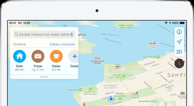 Mapa San Francisco ztrzema ulubionymi miejscami wyświetlanymi poniżej pola wyszukiwania. Miejsca te oznaczone są etykietami Dom, Praca oraz Kawa.