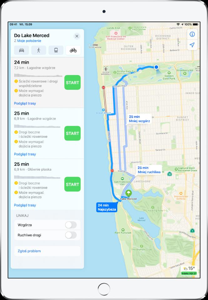 Mapa przedstawiająca różne trasy rowerowe. Po lewej widoczne są informacje obejmujące szczegóły trasy, wtym szacowany czas, zmianę wysokości oraz typy dróg. Obok każdej trasy widoczny jest przycisk Start.