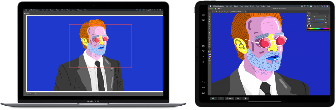 Tela do Mac ao lado da tela do iPad. As duas telas mostram uma janela de um aplicativo gráfico.