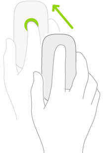 Ilustração simbolizando como usar um mouse para abrir a Central de Notificações.