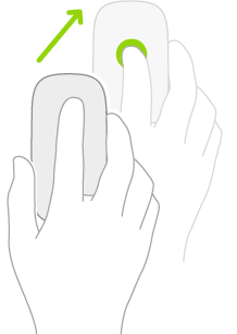 Ilustração simbolizando como usar um mouse para abrir a Central de Controle.