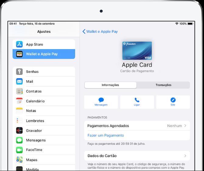 Tela de detalhes do Apple Card.