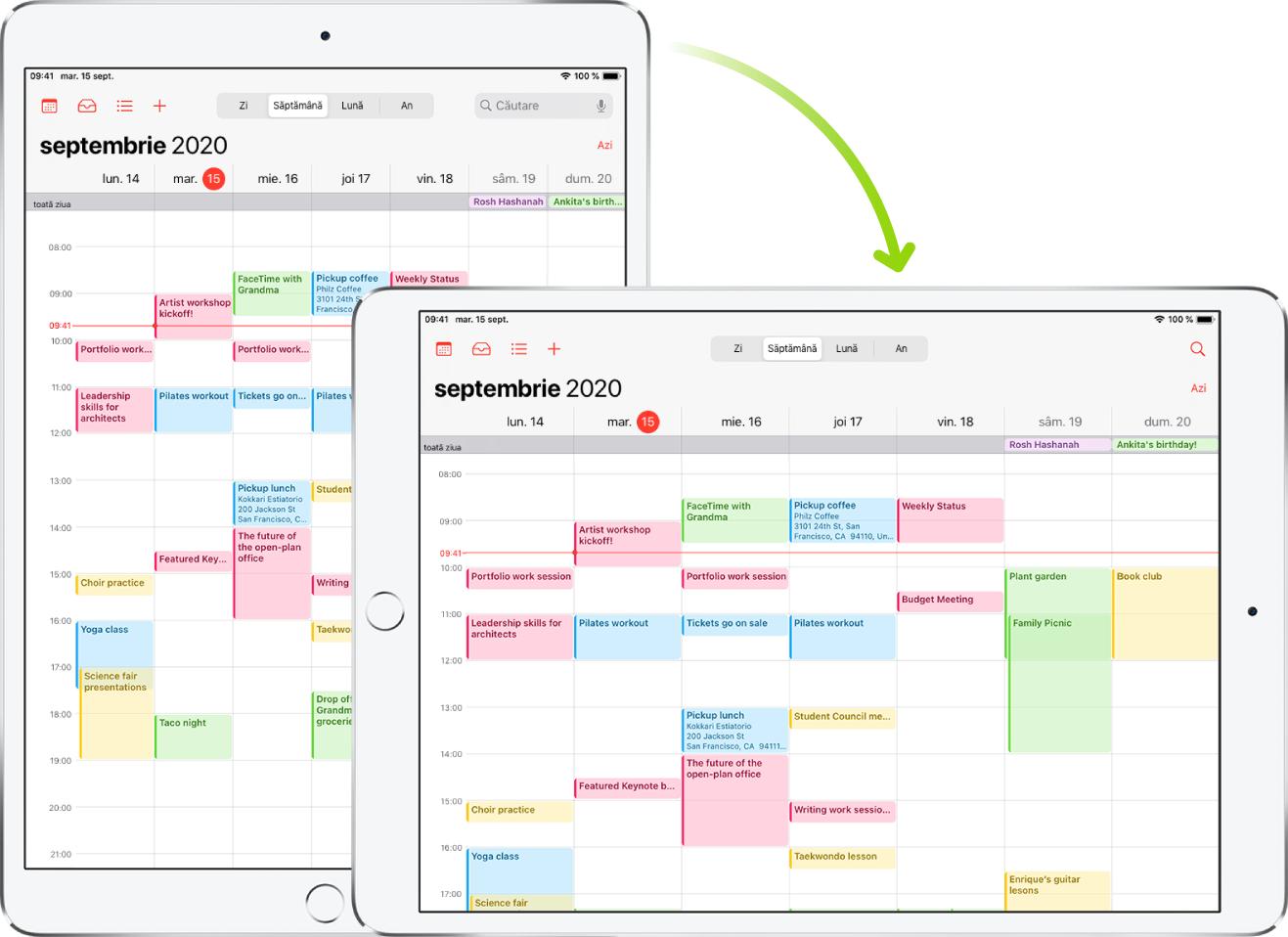 În fundal, iPad-ul afișează un ecran Calendar în orientarea portret; în prim-plan, iPad-ul este rotit și afișează ecranul Calendar în orientarea peisaj.