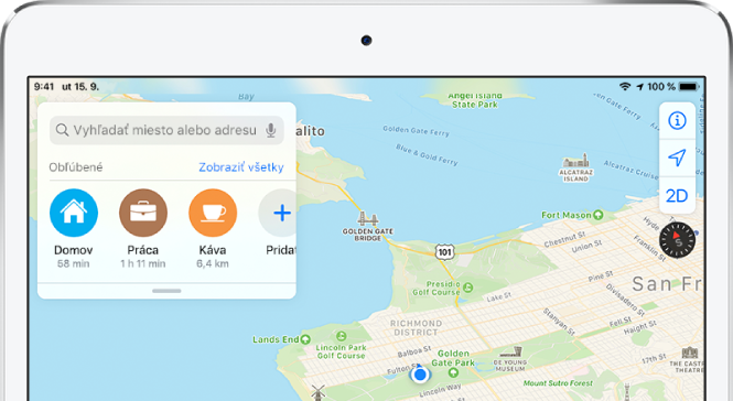 Mapa oblasti Bay Area vSan Franciscu stromi obľúbenými miestami vzozname pod vyhľadávacím poľom. Obľúbenými miestami sú Domov, Práca aKaviareň.
