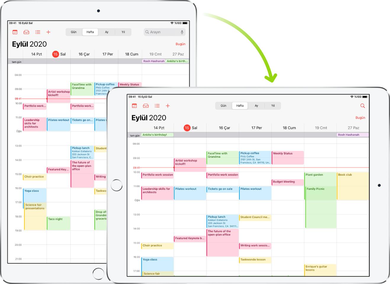 Arka planda, iPad düşey yönde bir Takvim ekranı gösteriyor; ön planda ise iPad, döndürülmüş ve Takvim ekranını yatay yönde gösteriyor.