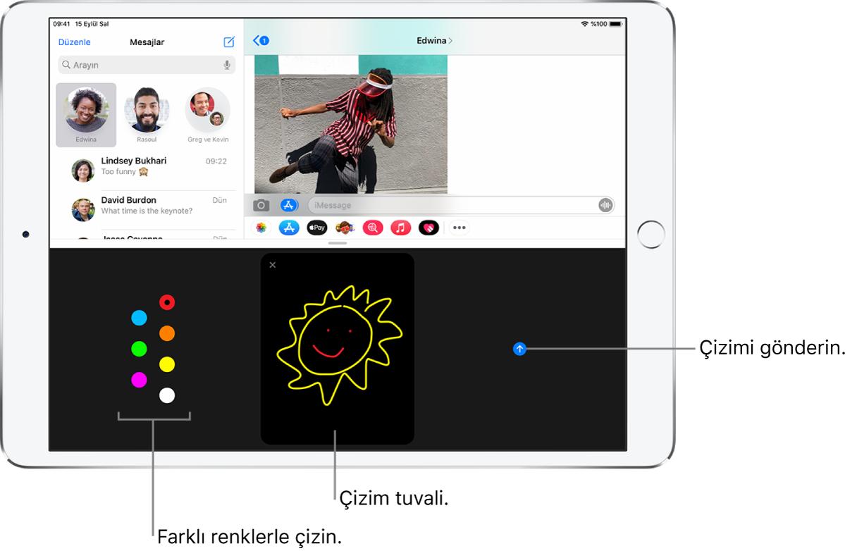 En altında Digital Touch ekranı ile bir Mesajlar ekranı. Renk seçenekleri solda, çizim tuvali ortada ve Gönder düğmesi sağda.