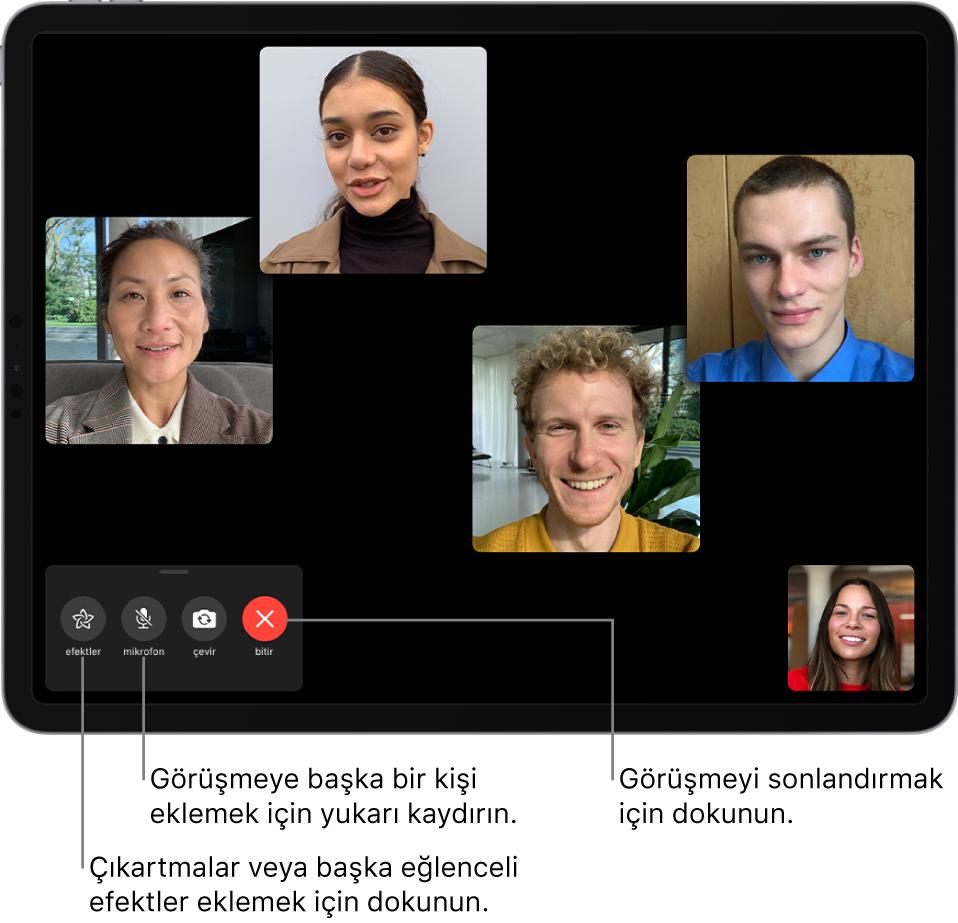 FaceTime aramasını başlatan kişi de dahil olmak üzere beş katılımcıdan oluşan bir Grup FaceTime araması. Her katılımcı ayrı bir karede görünür. Sol altta efektler, sesi kapat, çevir ve bitir denetimleri var.