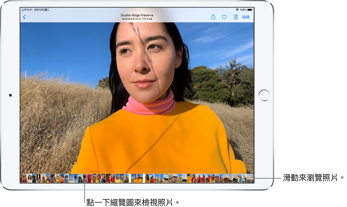 以全螢幕顯示一張照片,螢幕底部是一列圖庫中其他照片的縮覽圖。左上角為「返回」按鈕,可讓您返回瀏覽。沿著右上方依序是「分享」、「喜歡」、「刪除」和「編輯」按鈕。
