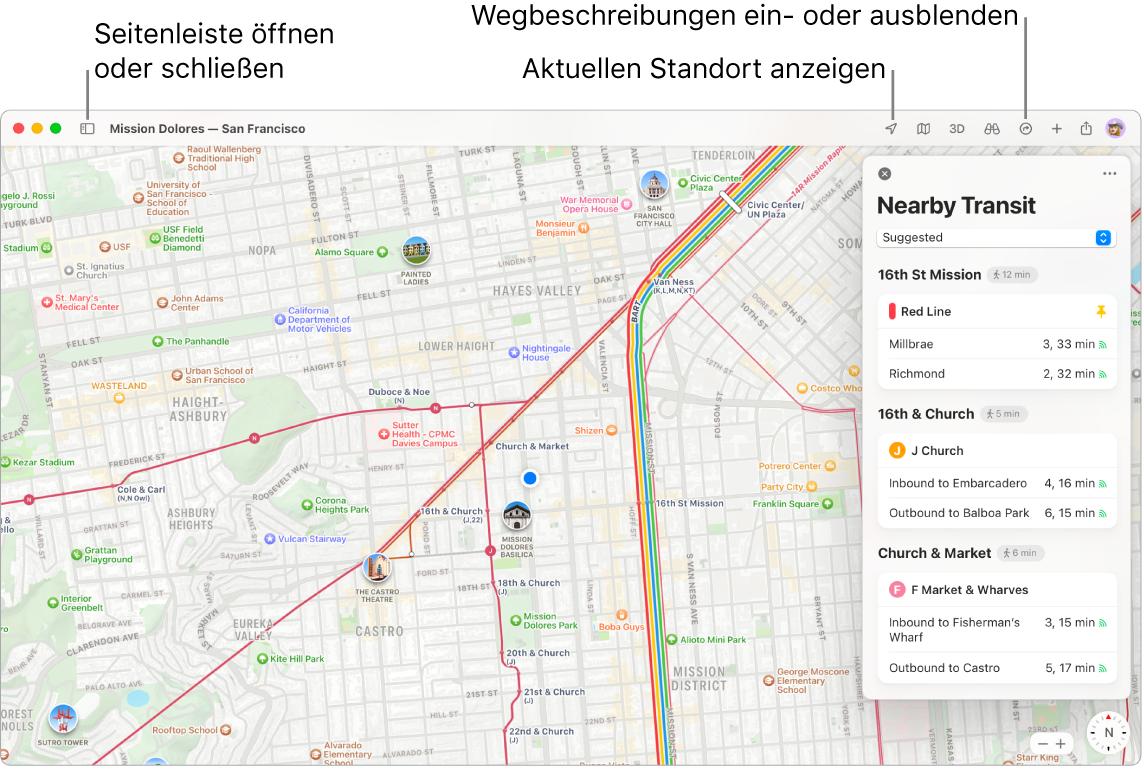"""Ein Fenster der App """"Karten"""" mit Informationen zum Anzeigen von Routen durch Klicken auf ein Ziel in der Seitenleiste, zum Öffnen und Schließen der Seitenleiste und Bestimmen deines aktuellen Standorts auf der Karte."""
