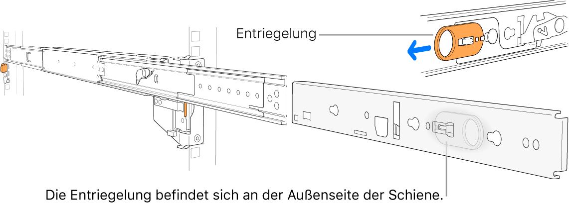 Eine ausgezogene Montageschiene mit hervorgehobener Verriegelung.