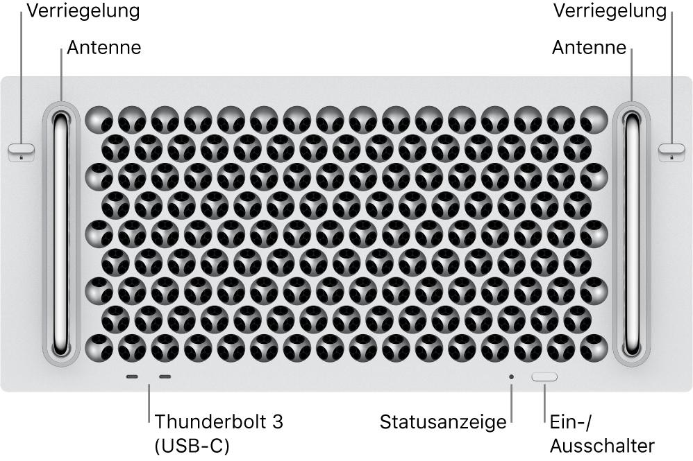 Die Vorderseite des Mac Pro mit zwei Thunderbolt 3-Anschlüssen (USB-C), einer Betriebsanzeige einem Ein-/Ausschalter und einer Antenne.