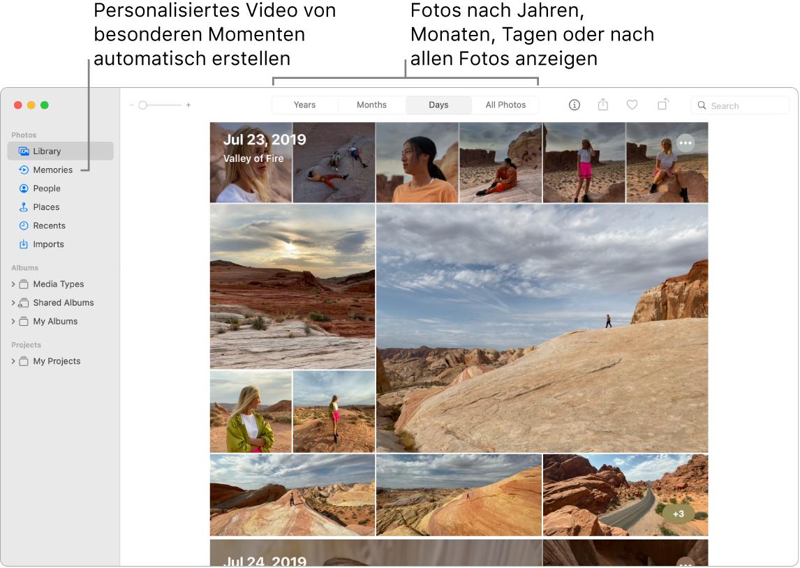 """Das Fenster """"Fotos"""" mit der Funktion """"Rückblicke"""" in der linken Seitenleiste und dem Einblendmenü oben im Fenster """"Fotos"""", in dem du die Fotos in deinem Album nach Tag, Woche, Monat und Jahr anzeigen kannst."""