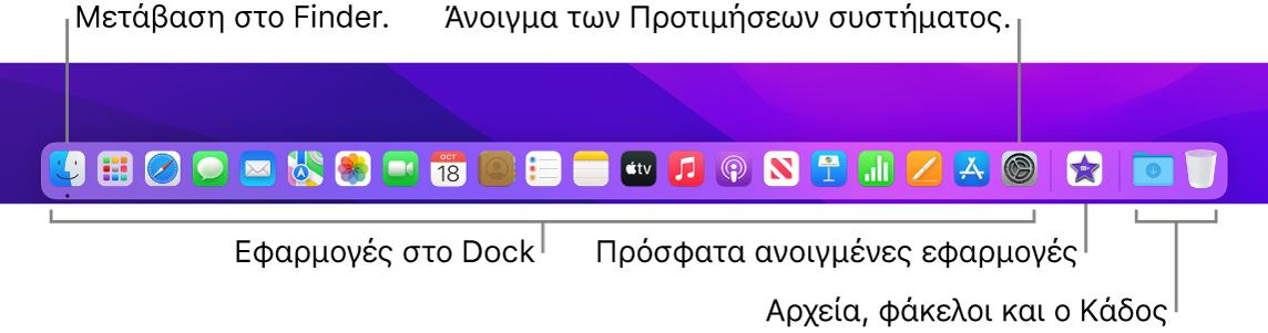Το Dock, στο οποίο φαίνεται το Finder, οι Προτιμήσεις συστήματος και η γραμμή στο Dock που διαχωρίζει τις εφαρμογές από τα αρχεία και τους φακέλους.