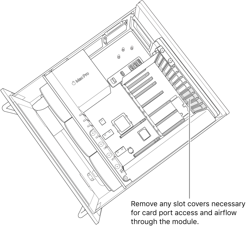 Remove any slot covers necessary for card port access and airflow through the module.