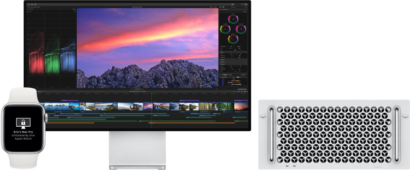 A Mac Pro and its display, next to an AppleWatch showing a message that the Mac has been unlocked by the watch.