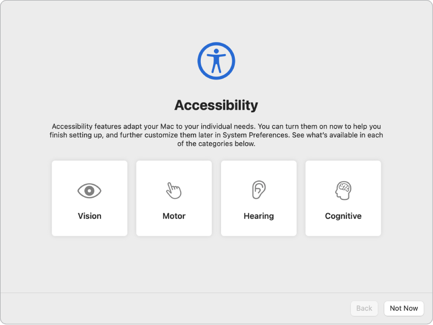 A Mac screen with Setup Assistant showing the Welcome screen.